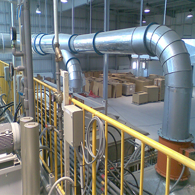 a plant with air pollution control equipment, dust collectors and conveyors